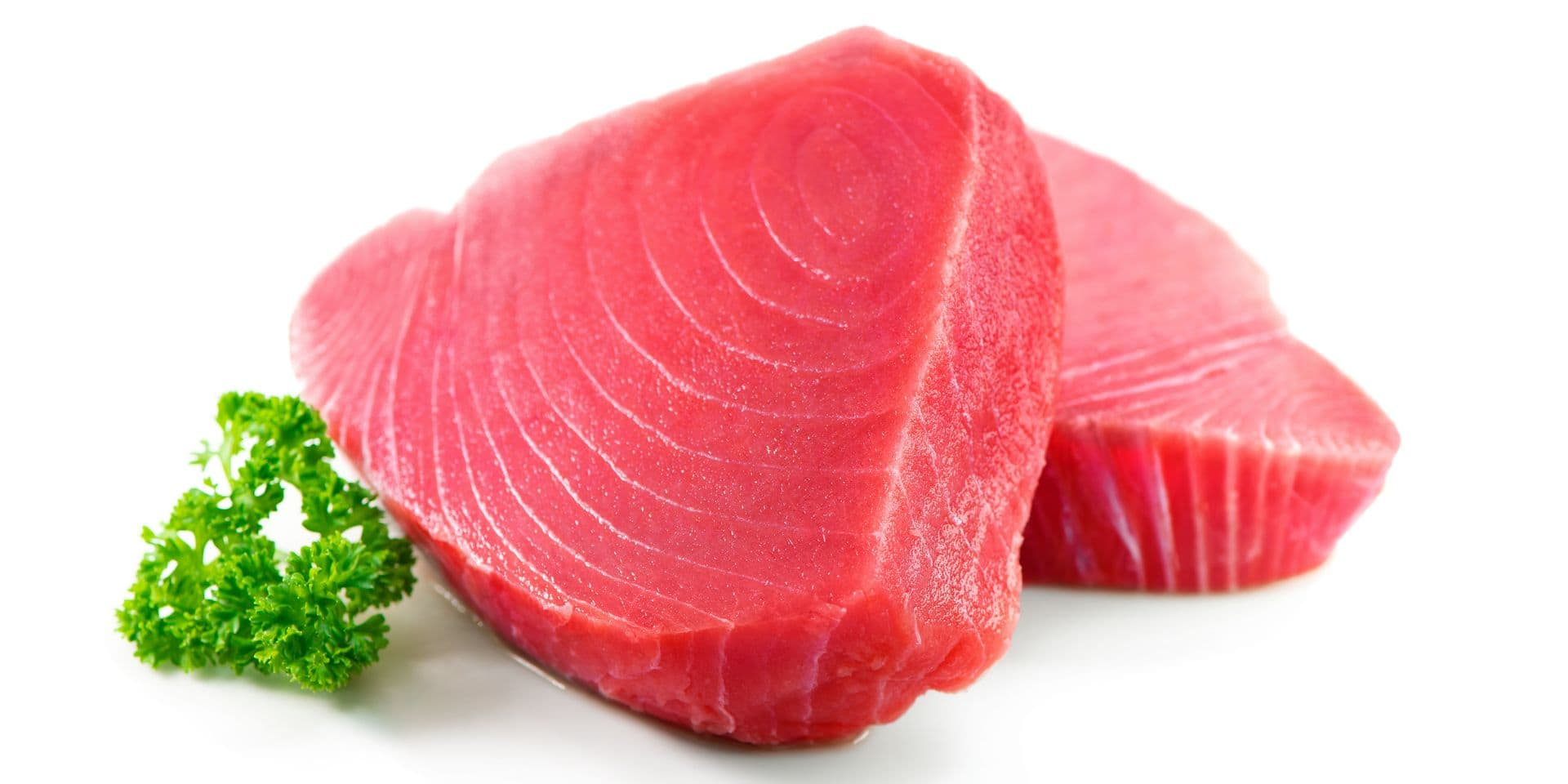 Fresh,Tuna,Fish,Fillet,Steaks,Garnished,With,Parsley,Isolated,On