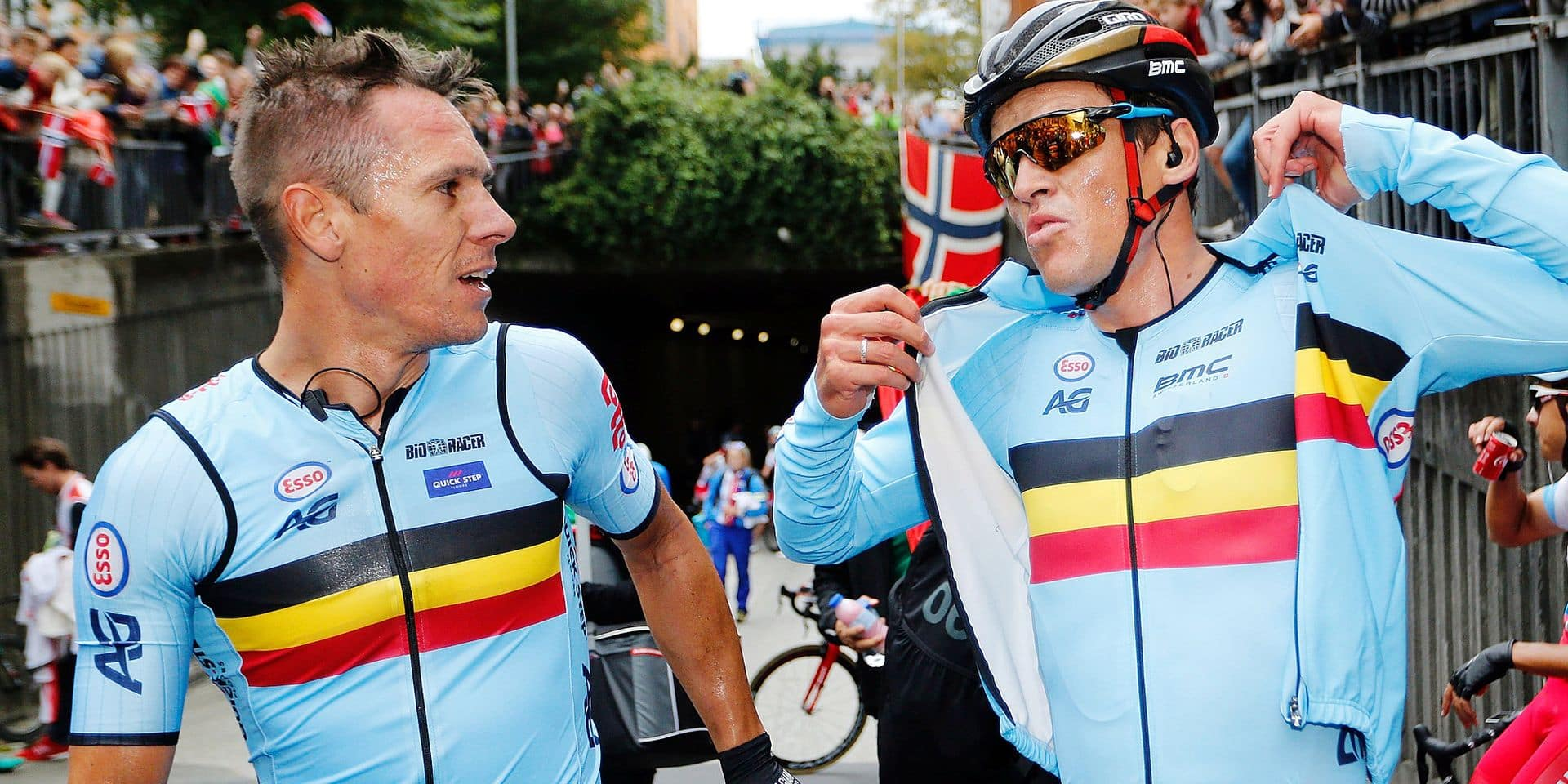 Belgian GILBERT Philippe of Quickstep Floors and belgian VAN AVERMAET Greg of BMC pictured at the men's elite road race at the 2017 UCI Road World Cycling Championships in Bergen, Norway, Sunday 24 September 2017. BELGA PHOTO YUZURU SUNADA FRANCE OUT