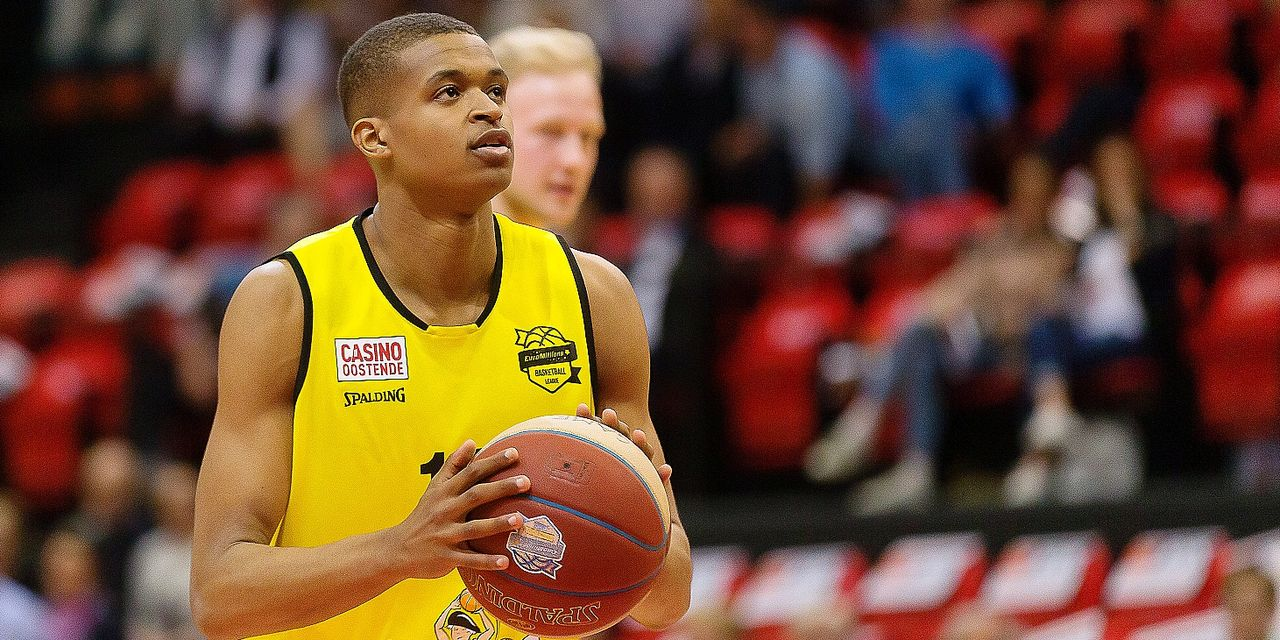 Oostende's Noe Botuli pictured in action during a basketball match between BC Oostende and Okapi Aalstar, Friday 26 April 2019 in Oostende, on day 29 of the 'EuroMillions League' Belgian first division. BELGA PHOTO JAMES ARTHUR GEKIERE