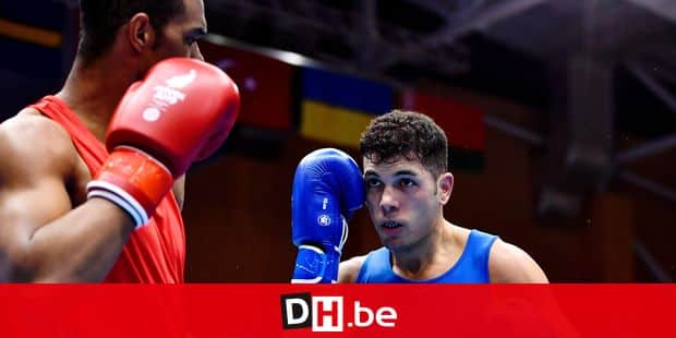 Azerbaidjan Loren Alfonso Dominguez (red) and Belgian boxer Ziad El Mohor (blue) pictured in action during a quarter final boxing match in the men's light-heavyweight (-81kg) category at the European Games in Minsk, Belarus, Wednesday 26 June 2019. The second edition of the 'European Games' takes place from 21 to 30 June in Minsk, Belarus. Belgium will present 51 athletes from 11 sports. BELGA PHOTO DIRK WAEM