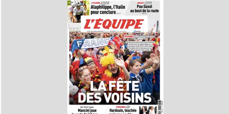 """""""La fête des voisins"""", """"Le chambrage continue"""" : le quotidien L'Equipe aplanit les tensions à l'aube de Belgique-France"""