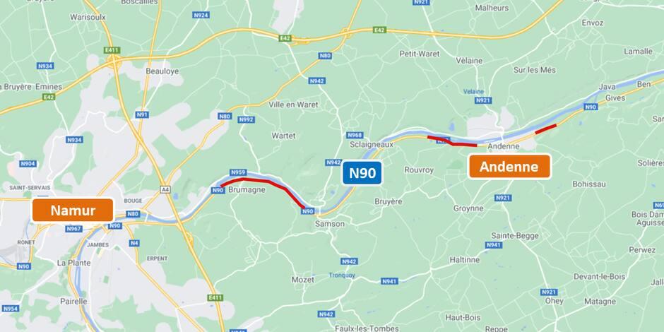 N90 : fin du chantier de réhabilitation et de sécurisation entre Andenne et Namur