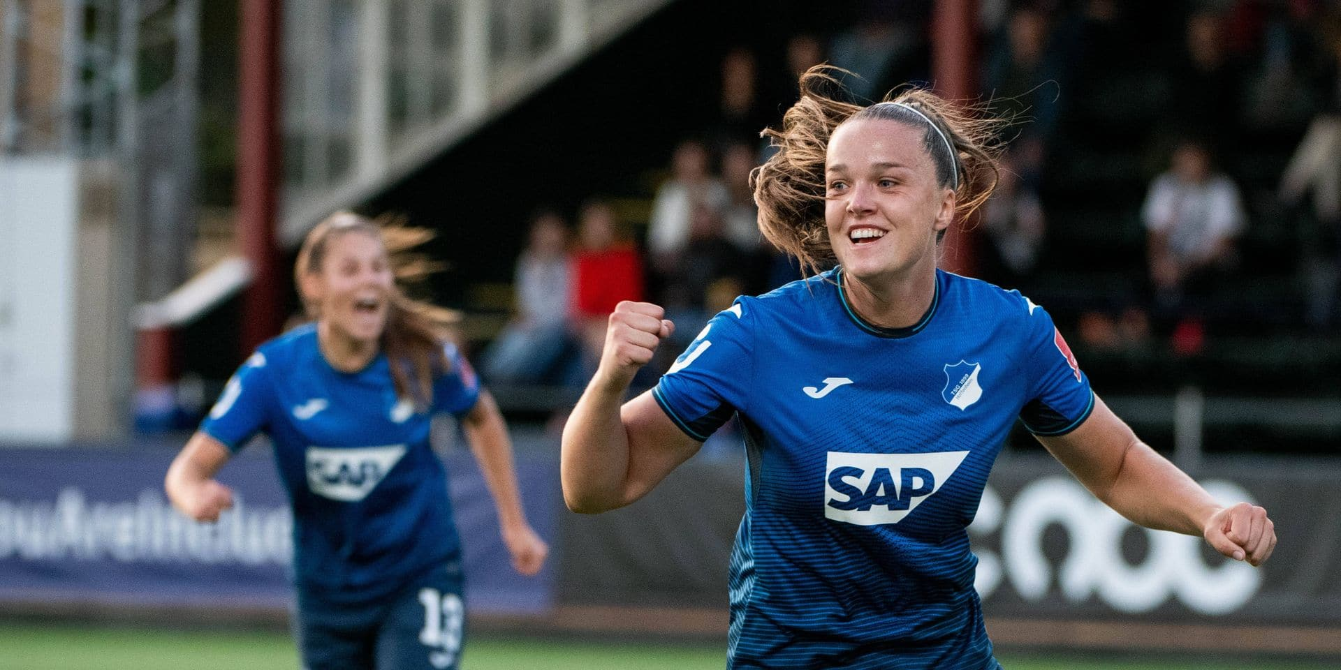 Tine de Caigny (TSG 1899 Hoffenheim) jubelt ueber das Tor, SWE, FC Rosengard vs. TSG Hoffenheim, 31.08.2021, Uefa Womens