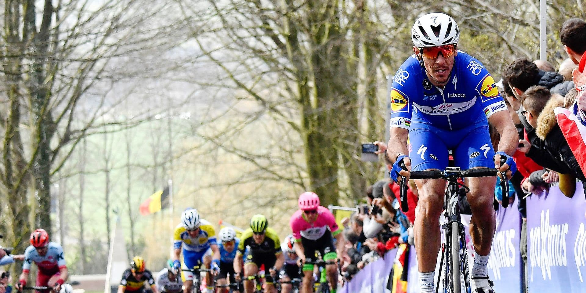 Belgian Philippe Gilbert of Quick-Step Floors pictured in action on the cobblestones of the Kemmelberg during the 80th edition of the Gent-Wevelgem cycling race, 251,1 km from Deinze, near Gent, to Wevelgem, Sunday 25 March 2018. BELGA PHOTO DIRK WAEM