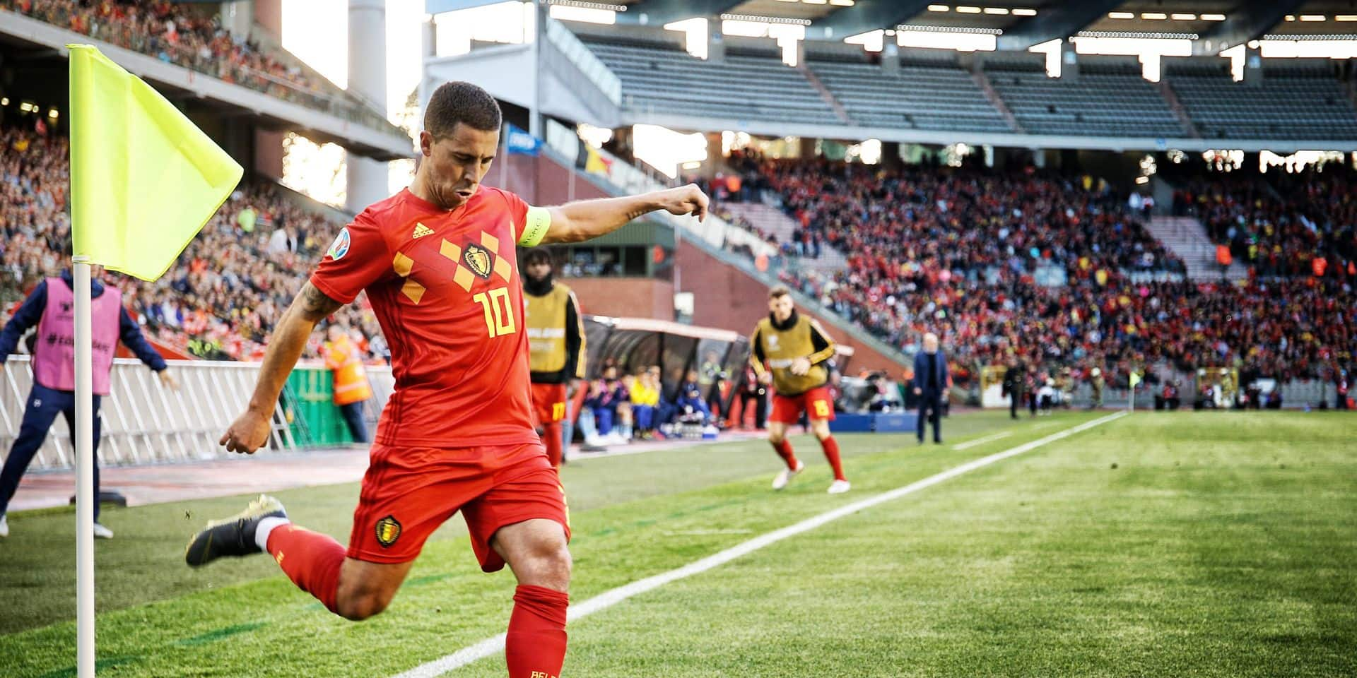 Belgium's Eden Hazard pictured during a soccer game between Belgian national team the Red Devils and the Republic of Kazakhstan, Saturday 08 June 2019 in Brussels, an UEFA Euro 2020 qualification game. BELGA PHOTO BRUNO FAHY