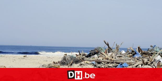 """A picture shows various debris and waste brought by the sea on the beach, at the mouth the """"courant de Mimizan"""" stream, in the seaside town of Mimizan, southwestern France, on March 7, 2014. The successive depressions and floods experienced by the southwestern region of Les Landes during the past two months have eroded the littoral. AFP PHOTO / JEAN-PIERRE MULLER (Photo by JEAN-PIERRE MULLER / AFP)"""