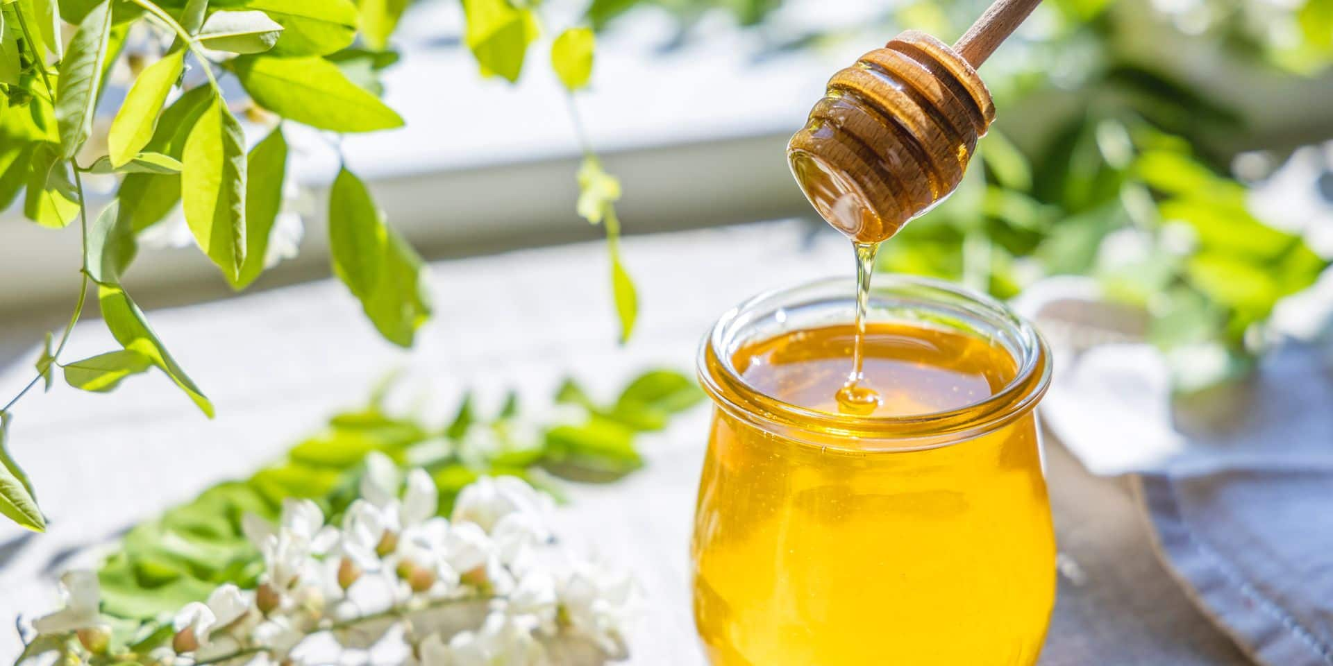 Sweet,Honey,Jar,Surrounded,Spring,Acacia,Blossoms.,Honey,Flows,From